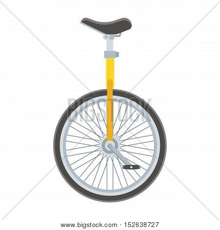 Unicycle bike icon. Monowheel bicycle vector illustration. Alternative city transport. Monocycle isolated on white.