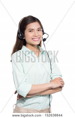 Portrait of happy smiling asian woamn support phone operator in headset