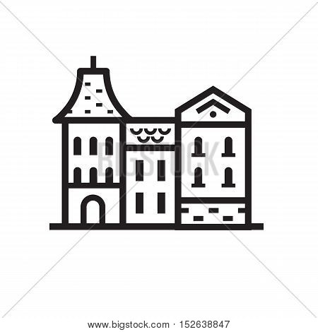 Europe street and house emblem. British or german townhouse emblem. Historic town houses logo. Downtown street outline design.