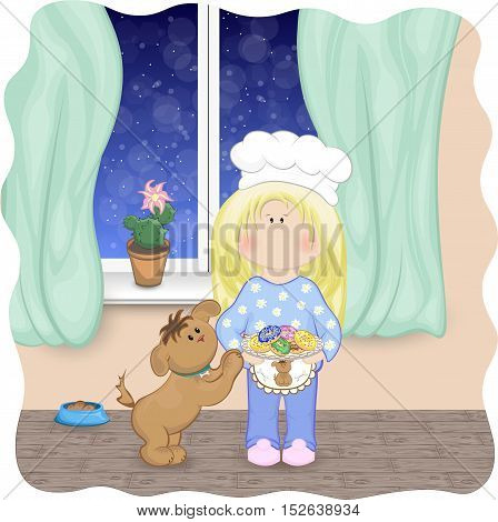 Daily situation. Doll-like girl bakes donuts on kitchen in a winter evening, dog begs donut. Snow outside, blooming cactus. Vector illustration.