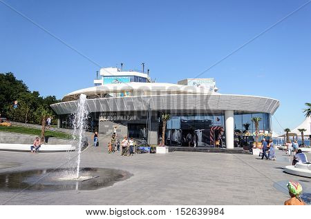 Odessa, Ukraine - September 01, 2016: Dolphinarium on seafront of the Black Sea