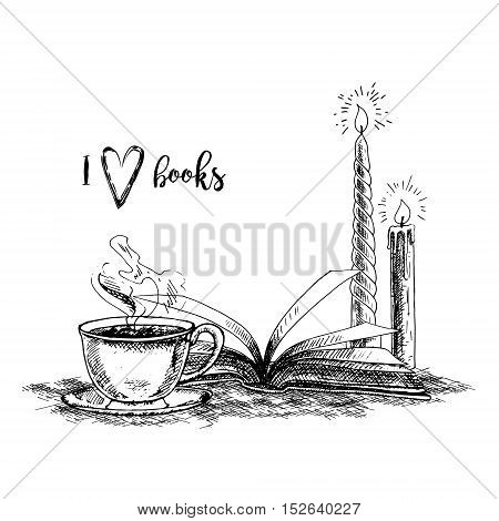 Hand drawn book candles and cup of tea. Retro sketches isolated. Vintage hypster collection. Doodle line graphic design. Black and white drawing images. Vector illustration.