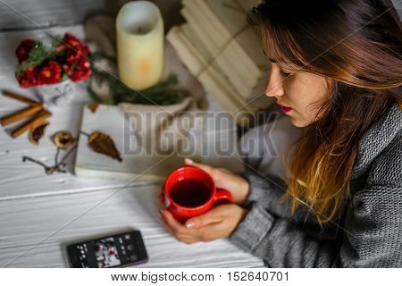 Warm And Cozy,  Concept Beautiful Girl With A Cup Of Tea