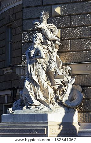 Odessa, Ukraine - September 01, 2016: Sculpture at the entrance of Opera Theater. A fragment of the tragedy of Euripides 'Hippolytus'.