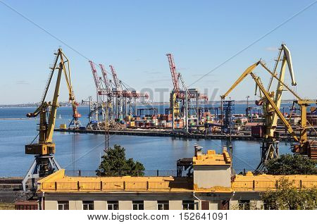 Big cranes in Commercial Sea Port of Odessa Ukraine