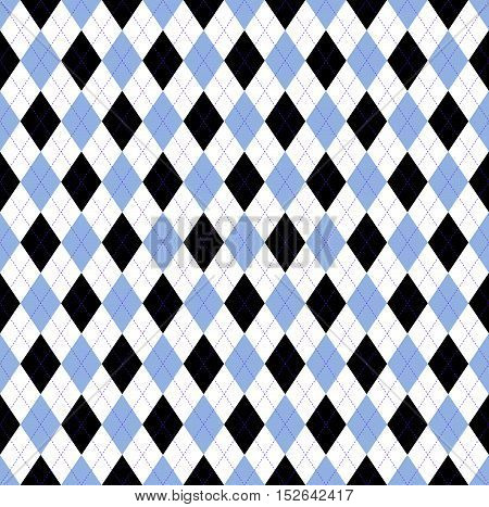 Seamless argyle pattern in pale cornflower blue, white & black check with violet stitch.