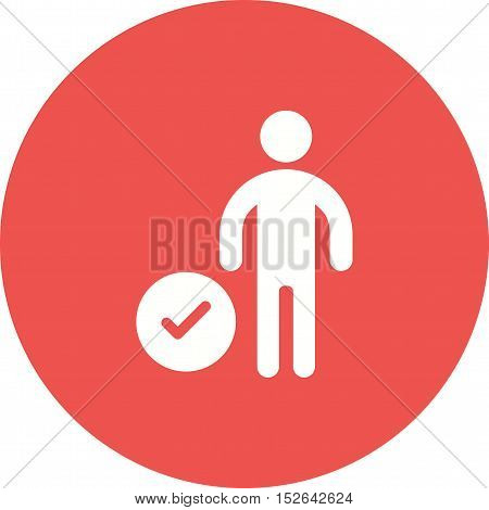 User, check, profile icon vector image. Can also be used for people. Suitable for use on web apps, mobile apps and print media.