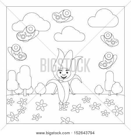 Kid in fancy flower dress in kindergarten. Coloring page for children. Vector illustration