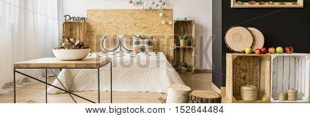 Wooden Crates In Bedroom