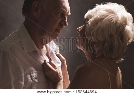 Sexy Senior Couple During Foreplay