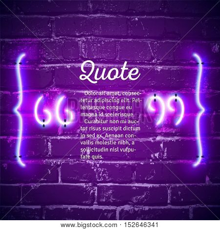 Retro hipster neon quote marks on the wall