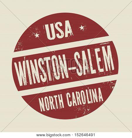 Grunge vintage round stamp with text Winston - Salem North Carolina vector illustration