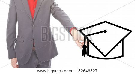 Young business man with graduation symbol on white background