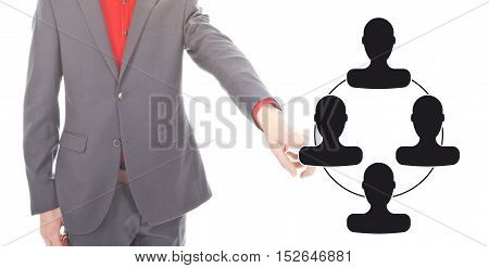 Young businessman with virtual friends symbol on white background