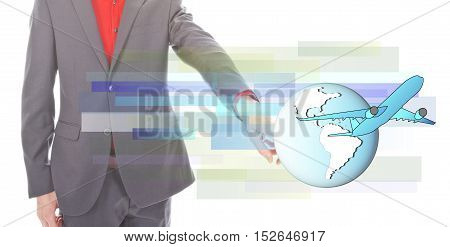 Young businessman with airplane and globe on white background
