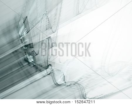 Abstract background element. Three-dimensional composition of wave shapes, grids and beams. Science and technology concept.