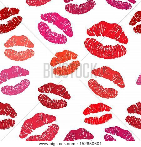 Red lipstick kiss seamless pattern, female lips on white background.Vector stock illustration.
