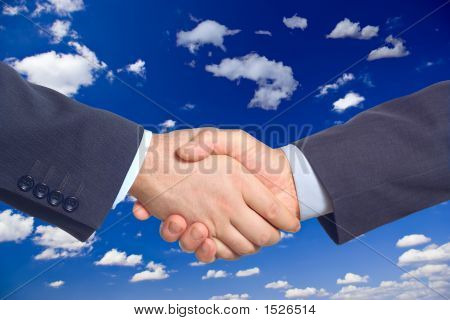 Handshake Against Clouds