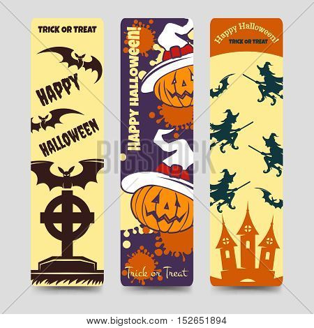 Halloween flat bookmarks with pumpkin bat headstone witch. Vector ilustration