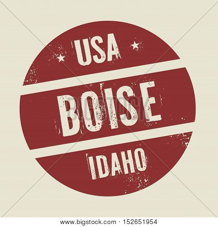Grunge vintage round stamp with text Boise Idaho vector illustration