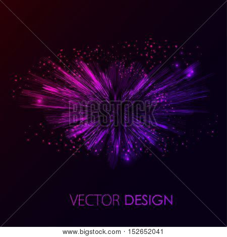 Bright pink and violet shining vector. Abstract fireworks explosion at dark space background. Cosmic illustration for posters, flyers, covers, web presentations, business cards