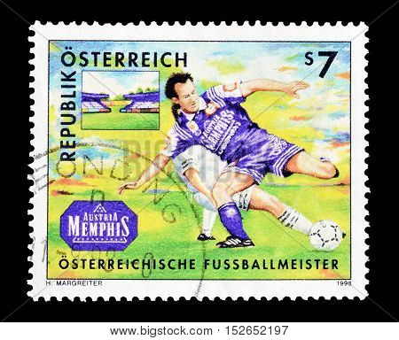 AUSTRIA - CIRCA 1998 :  Cancelled postage stamp printed by Austria, that shows Football.