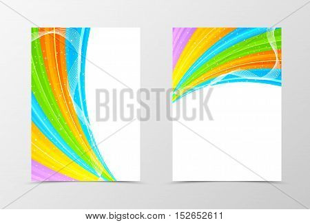 Front and back spectrum flyer template design. Abstract template in rainbow colors with stars. Vector illustration