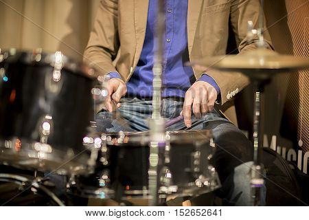Musician Plays The Drums, Cymbals, Sticks, Concert, Music