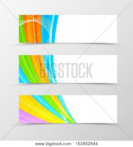 Set of header banner spectrum design with stars in rainbow colors and wavy style. Vector illustration