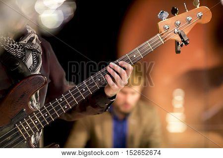 Man Plays Bass Guitar, Concert, Music, Bar, Restaurant, Musician, Hand