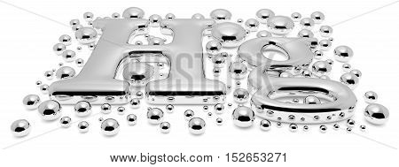 Small shiny mercury (Hg) metal chemical element sign of toxic mercury metal with drops and droplets of toxic mercury liquid isolated on white background perspective view 3d illustration