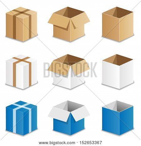 Illustration of cardboard set on white background