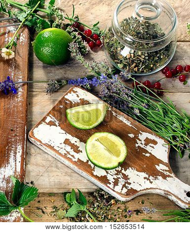 Herbal Tea On Rustic Wooden Table.