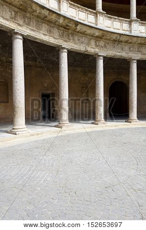 view of the  circular courtyard in the palace of Carlos V, Alhambra, Granada, Andalucia, Spain