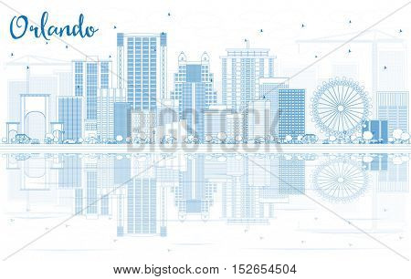 Outline Orlando Skyline with Blue Buildings and Reflections. Business Travel and Tourism Concept with Modern Architecture. Image for Presentation Banner Placard and Web Site.