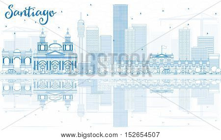 Outline Santiago Chile Skyline with Blue Buildings and Reflections. Business Travel and Tourism Concept with Modern Architecture. Image for Presentation Banner Placard and Web Site.