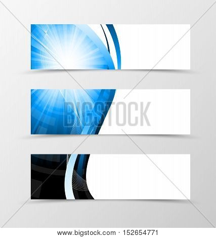 Set of header banner dynamic futuristic design with with blue lines and digital geometric background in wave style. Vector illustration