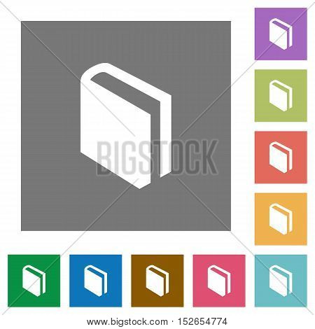 Flat book icons on simple color square background.