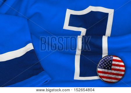 American puck and a hockey jersey with the number one. Texture background