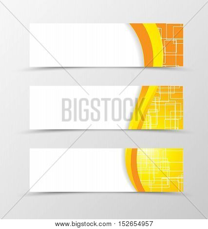 Set of header banner technologic design with with orange and yellow lines and digital geometric square background in wave style. Vector illustration