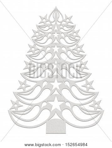 White Christmas tree made of paper on white background