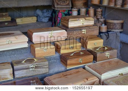 Wooden Boxes On The Counter