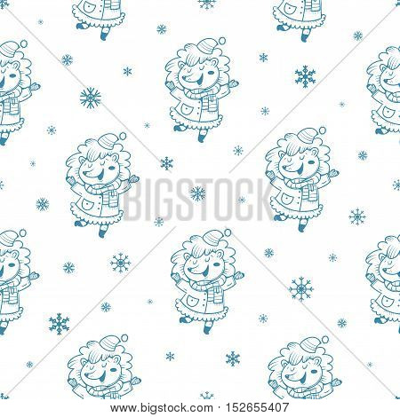 Seamless pattern with cute cartoon hedgehogs  in coats  and hats on white background. Winter time. Snow day. little creatures in clothes. Funny animal. Vector contour image. Children's illustration.