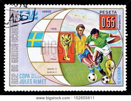 EQUATORIAL GUINEA - CIRCA 1974 : Cancelled postage stamp printed by Equatorial Guinea, that shows Football.