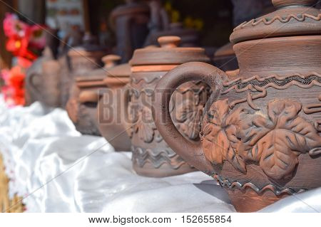 Ornamented Pots Made Of Clay