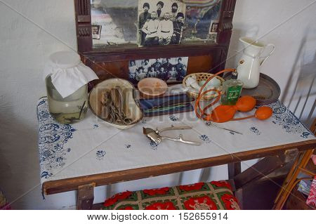 Russia Ataman - 26 September 2015: Barber table. Image barber life in the early twentieth century.