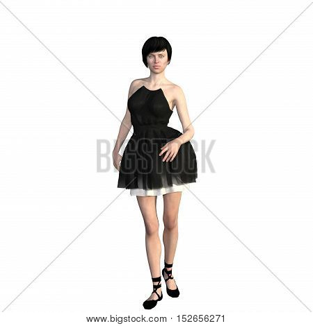 One well-groomed young woman in a black dress. She comes near the camera in a relaxed mood. 3D rendering, 3D illustration