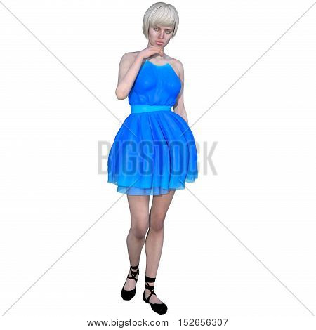 One well-groomed young woman in a blue dress. She stands near the camera and posing with his hand to his face. 3D rendering, 3D illustration