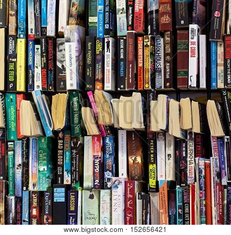 CYPRUS, PROTARAS, HOTEL CHRYSTALLA - 11 OCTOBER 2016: A lot of books on a shelf