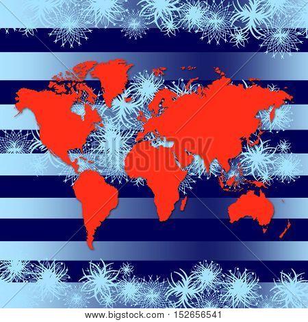 Christmas map. World map